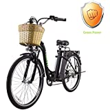 "NAKTO 26"" City Adult Electric Bicycles and Assisted Bicycle for Men Woman with Removable 36V 10A Large Capacity Lithium Battery and Charger"