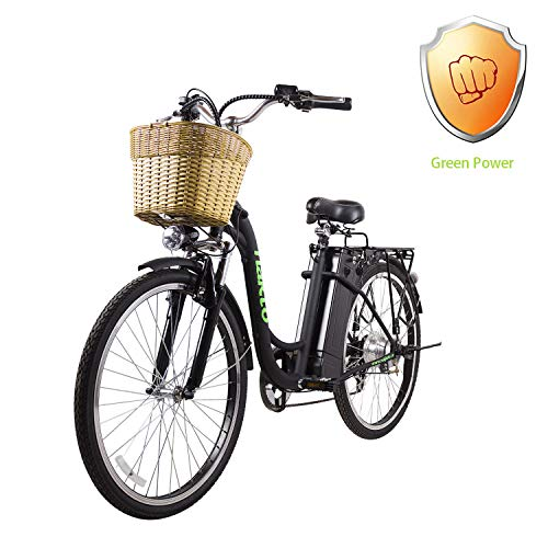 """NAKTO 26"""" City Electric Bicycle and Assisted Bicycle for Men with Removable 36V 10A Large Capacity Lithium Battery and Charger (26"""" Spark-Black)"""