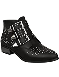 Fashion Thirsty Womens Vintage Style Studded Ankle Boots Biker Low Heel Cowboy Shoes Size