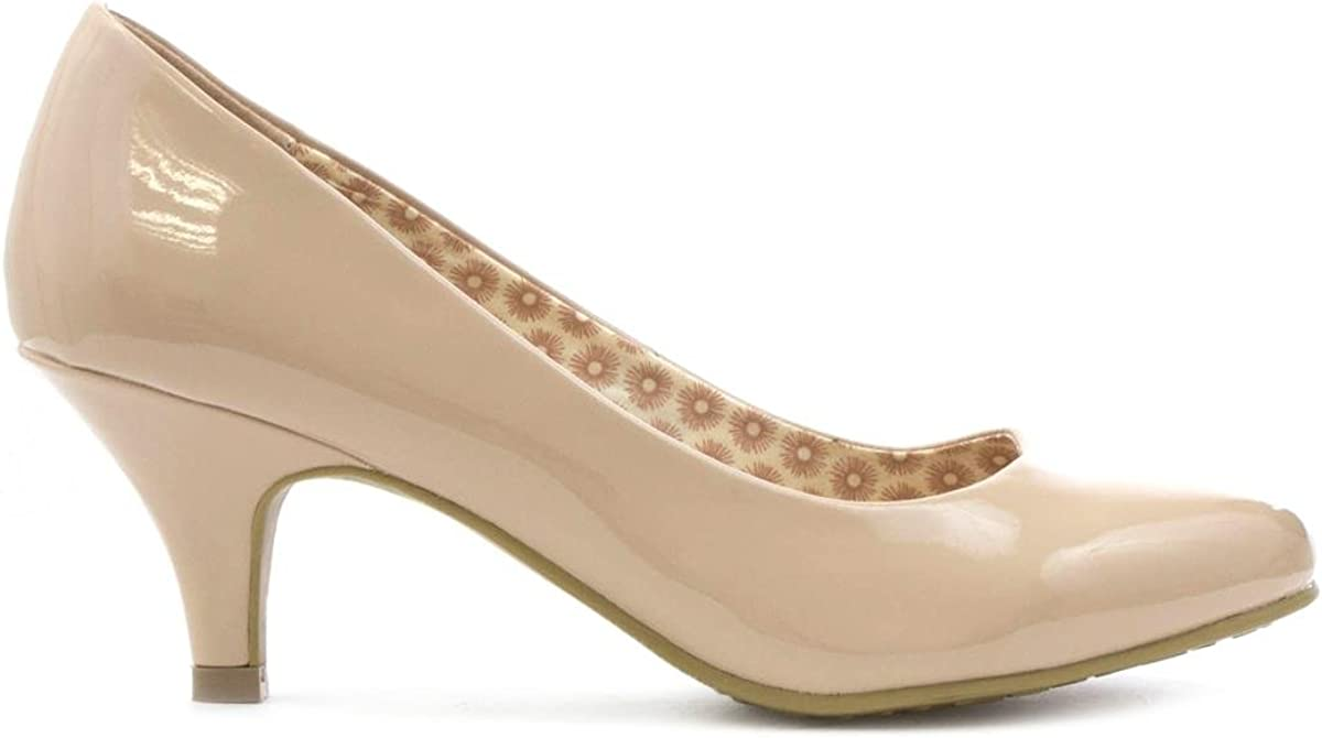 Lilley Womens Patent Court Shoe in Nude Pink