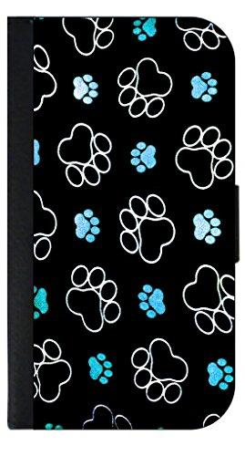 Blue Puppy Pawprints Apple iPad2/3/4 Black PU Leather & S...