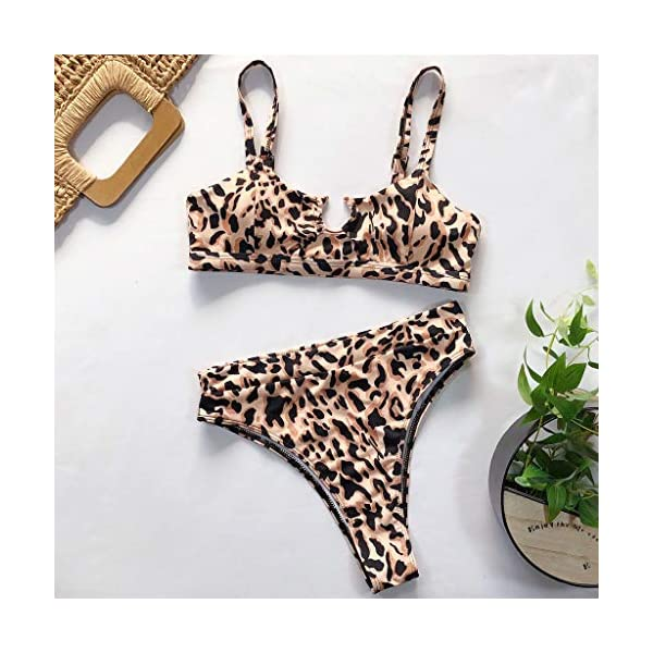 Rawdah_Bikini Costumi da Bagno Donna Due Pezzi Brasiliana Sexy Bikini Costume da Bagno al Mare Spiaggia Leopardo Stile…