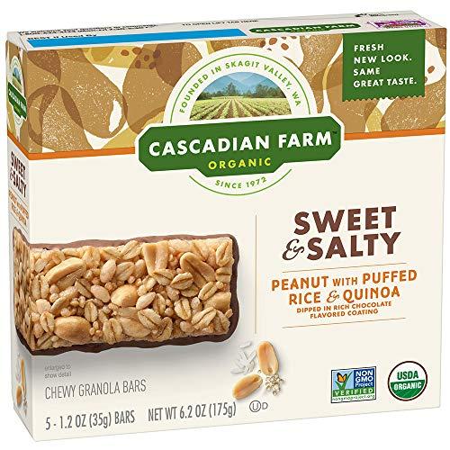 - Cascadian Farm Organic Peanut with Puffed Rice & Quinoa Sweet & Salty Chewy Granola Bars 5-1.2 oz. Bars