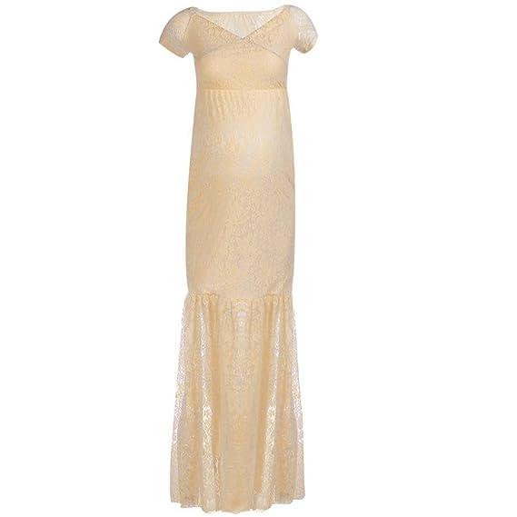 K-youth® Sirena Mujer Embarazada Encaje Larga Vestido de Maternidad Foto Shoot Dress Faldas