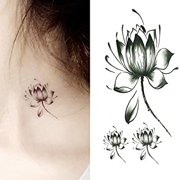 Amazoncom Oottati Small Cute Temporary Tattoo Black Lotus Lotus