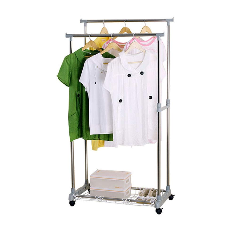 ダブルロッド衣類ラック拡張可能なコートラック乾燥ラックホイール付きステンレス鋼管 B07KTZCB5S