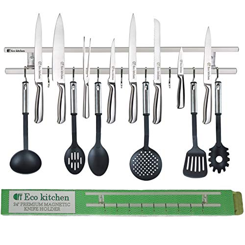ECO KITCHEN 24 Inch Stainless Steel Magnetic Knife Holder - Magnetic Knife Strip Wall Mount With 9 Hooks - Knife Rack/Knife Bar for Kitchen Utensils and Cooking Sets - Save Your Space Now! (Knives Kitchen Utensils)