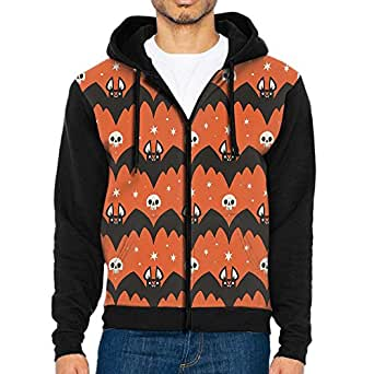 Halloween Bat and Skull Men's Pullover Hooded Sweatshirt Hoodies With Big Pockets Realistic Hoodies Long Sleeve T-Shirt Fashion Sweatshirts