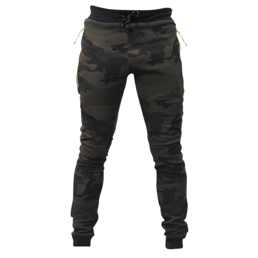 Pantalones Casual de Camuflaje para Hombre Algodó Casuales Pantalón Chandal Hombre con Cordones Ajustado Pies Entrenamiento Fitness Casual Jogging MMUJERY