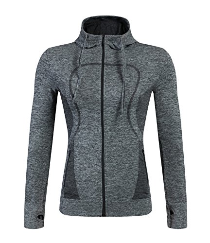 (Selighting Women's Running Sweatshirts Full Zip Hoodie Lightweight Active Yoga Jackets with Thumb Holes (Gray, Large))