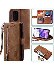 Snow Color Leather Wallet Case for Galaxy S20+ (S20Plus) with Stand Feature Shockproof Flip, Card Holder Case Cover for Samsung Galaxy S20 Plus - COHH040133 Brown