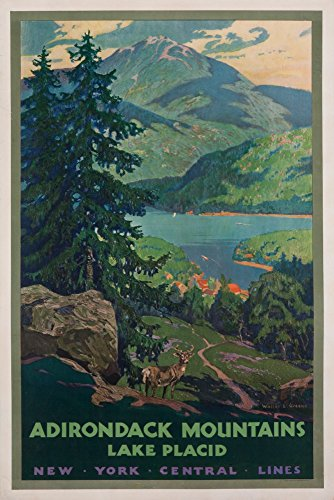 New York Central Lines - Adirondack Mountains Vintage Poster (artist: Greene) USA (12x18 Fine Art Print, Home Wall Decor Artwork Poster)