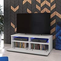 100 cm, Blanc mat // Fronts Blanc Brillant avec LED Bleue Meuble TV Siena