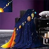 smallbeefly Space Digital Printing Blanket Solar System with Sun Uranus Venus Jupiter Mars Pluto Saturn Neptune Image Summer Quilt Comforter Dark Blue Orange
