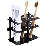 Mellewell Toothbrush Holder Toothpaste Organizer Stand Bathroom Storage in Flat Black, Stainless Steel, 03003B