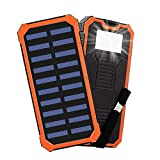 Solar Chargers 30,000mAh,Portable Dual USB Solar Battery Charger Solar Battery Bank for Cell Phone with 6 Led Light for Camping, Hiking, Going to The Beach Or Other Outdoor Activities (Orange)