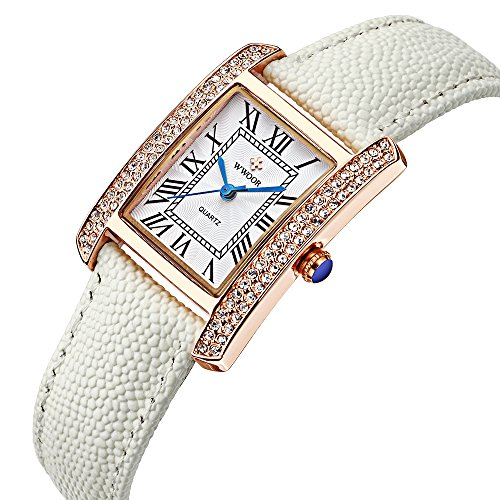 WWOOR Fashion Genuine Leather Women Watches Quartz Watch coupons for Classic Retro W79(white gold - Coupon Vintage Trends