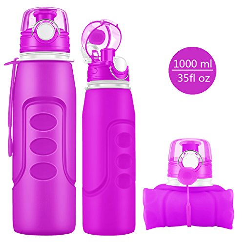 (JUNYI Sport Water Bottle, Non-Toxic Silicone Edible Material Drinking Water Bottle Collapsible Water Bottle Outdoor Sports Water Bottle 1000ML 34 Ounces(Purple))