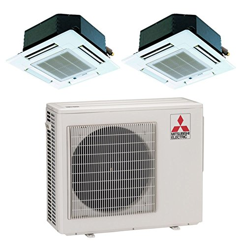 Mitsubishi MXZ2B20NA12018- 18,000 BTU 18 SEER Dual-Zone Ceiling Cassette Mini Split Air Conditioner Heat Pump 208-230V (9-9)