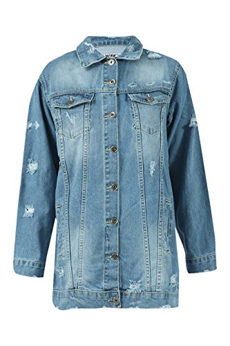 Size 14 Longline UK Jacket Distressed Ladies Denim 6 Blue qZXSwHgw
