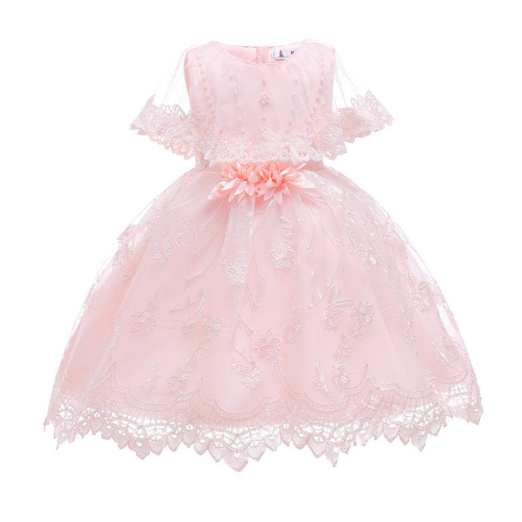 f2376c8ab Amazon.com: Girl Princess Dress Lace Bowknot Flower Beading Fluffy Tutu  Skirt for Party Birthday Ball Gown (Pink, 140cm): Clothing