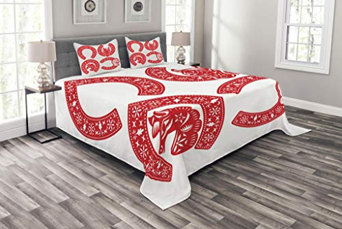 (Lunarable Horseshoe Coverlet Set Queen Size, Horseshoe Symbol Designs in Chinese Paper Cut Style to Celebrate The CNY Artwork Print, Decorative Quilted 3 Piece Bedspread Set with 2 Pillow Shams, Red)