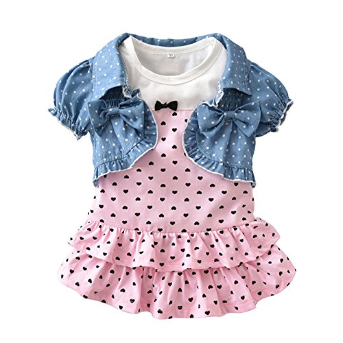 Isugar Summer Baby Girls Clothes Short-Sleeved Jacket and Dress Outfit Sets