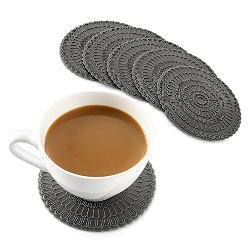 (zanmini Silicone Gray Coasters for Drinks, 4 Inch Coasters Set of 6, Tabletop Protection and Prevents Furniture Damage, Spoon Rest, Jar Opener - Easy to Clean)