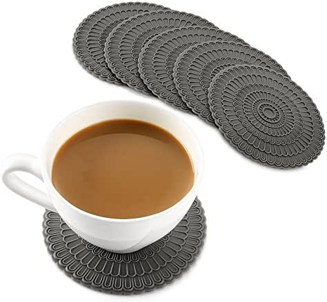zanmini Silicone Gray Coasters for Drinks, 4 Inch Coasters Set of 6, Tabletop Protection and Prevents Furniture Damage, Spoon Rest, Jar Opener - Easy to Clean (Gray)