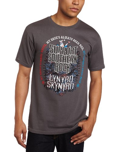 (FEA Men's Lynyrd Skynyrd Support Southern Rock T-Shirt, Charcoal, Small)