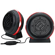 ENHANCE Gaming LED Computer Speakers with Subwoofer , Powerful 5W Drivers and In-Line Volume Control - Red Glowing Lights , USB 2.0 Powered , 3.5mm Connection for PC , Desktop , Laptop , Notebook