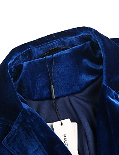 HaoDuoYi Womens Solid Velvet Double Breasted Trench Coat(XXL,Blue) by HaoDuoYi (Image #5)