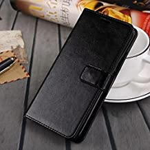 MEIZU MX5 case, solid color pattern wallet style case magnetic design flip folio PU Leather cover standup cover case for MEIZU MX5 ( Color : Black-MEIZU MX5 )