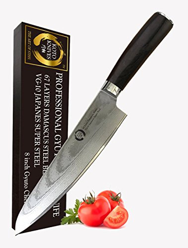 KOTO Knives 8 Inch Professional Gyutou Chef's Knife - 67 Layers Damascus Blade, True Japanese VG-10 Stainless Steel Chef Knife With Ergonomic Handle, Full Tang, Knife Sheath And Premium Packaging