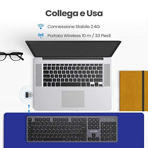 VicTsing Tastiera Wireless, Tastiera Ultrasottile Ergonomica Silenziosa con 12 Scorciatoie Multimediali e Rivestimento Simile al Metallo, Compatibile con Windows 10/8/7/XP/Vista, Mac OS
