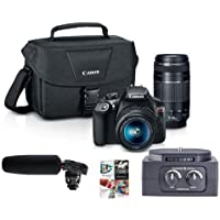 Canon EOS Rebel T6 DSLR with EF-S 18-55mm f/3.5-5.6 IS II and EF 75-300mm F4-5.6 III Lenses - Bundle with DR-10SG Camera Audio Recorder w/Shotgun Mic, MX-SLR200 2 Channel XLR Audio Mixer, and More