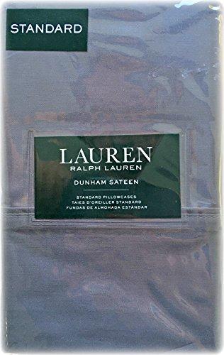 Set of 2 Ralph Lauren Dunham Sateen Standard Pillowcases Charcoal Gray -300 Thread Count 100% Cotton- (Cases Pillow Ralph Lauren)