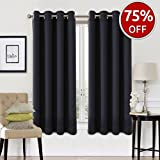 #5: EASELAND Blackout Curtains 2 Panels Set Room Darkening Drapes Thermal Insulated Solid Grommets Window Treatment Pair for Bedroom, Nursery, Living Room,W52xL63 inch,Black