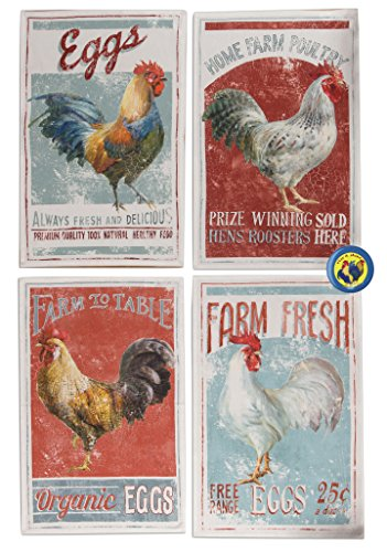 Rooster Kitchen Towel Set Of 4 Tea Towels + Rooster Magnet | Good House  Warming Gift
