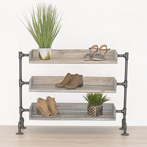 Industrial Pipe and Wood Shoe Rack, Shoe Organizer, Free Standing Shoe Rack, Shoe Storage, Wood Shelving by William Roberts Vintage ()