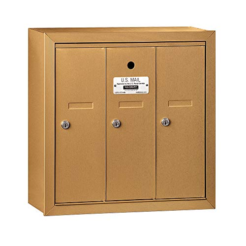 (Salsbury Industries 3503BSU Surface Mounted Vertical Mailbox with USPS Access and 3 Doors, Brass)