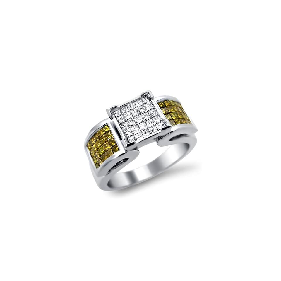 1.30ct Yellow Canary Diamond Ring Band 14k White Gold