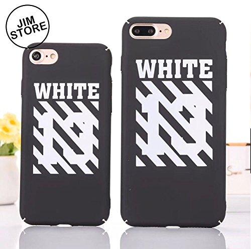 ad476a1d8e3 Off logotipo blanco negro rayas iPhone funda X 6 7 8 Plus mate funda de piel