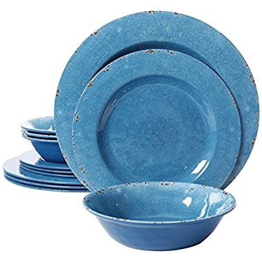 Gibson Studio Line by Laurie Gates 12 Piece Mauna Melamine Dinnerware (Set of 4), Blue