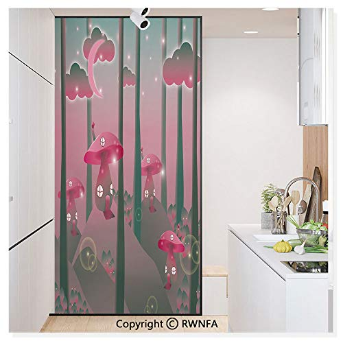 (Decorative Privacy Window Film Mystical Magic Landscape Hills Trees Mushroom Houses Crescent Moon Night Sky No-Glue Self Static Cling for Home Bedroom Bathroom Kitchen Office,Jade Green Pink)