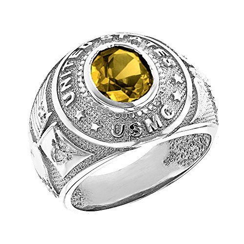 Solid 10k White Gold November CZ Birthstone US Marine Corps Men's Ring (Size 6)