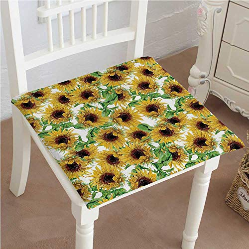 Wild Collection Sunflower (Chair Seat Pads Cushions Collection Dried Sunflowers Illustration Wildflowers Branch Herbarium Artistic Design Fine Art Square Car and Chair Cushion / Pad With Ties, Soft, For Indoors Or Outdoor)