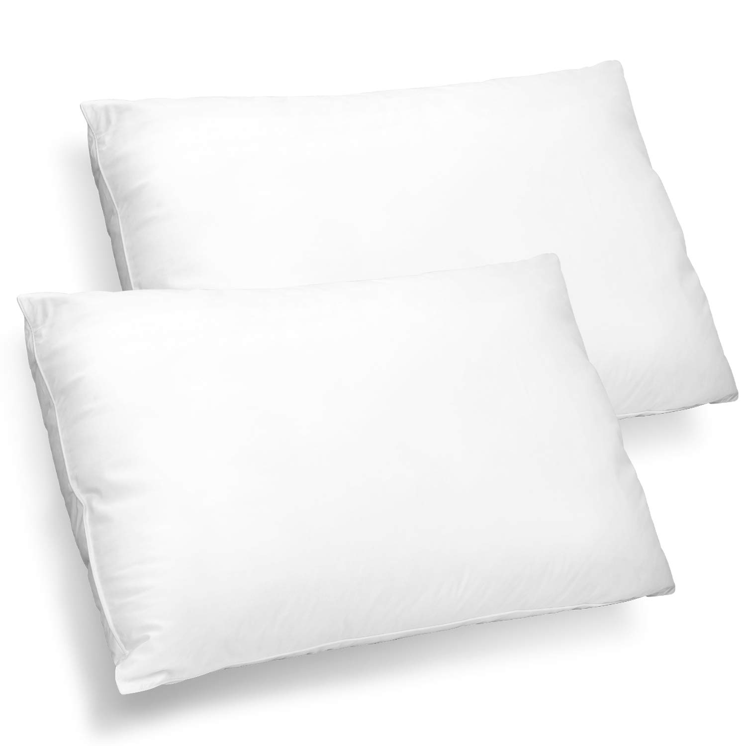LIVINGbasics™ Extra Lush Fiber Polyester Filled Bed Pillows with Cotton Cover, 2 Pack Down Pillow (King Size)