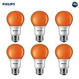 Philips LED 463232 Orange 60 Watt Equivalent A19 LED Light Bulb, 6 Pack, 6 Piece