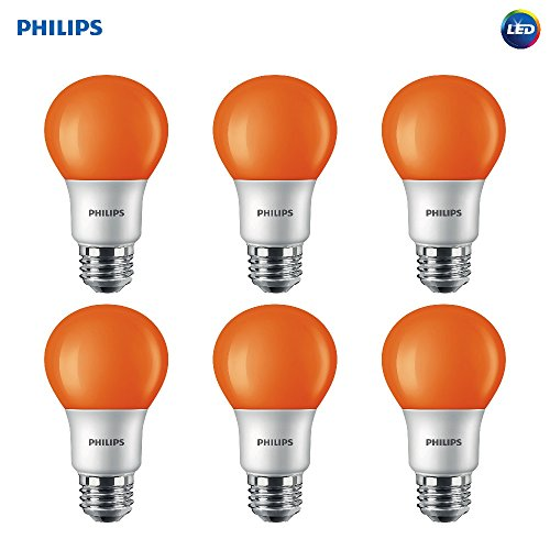 Philips LED 463232 60 Watt Equivalent Orange A19 LED Light Bulb, 6 Pack, Piece